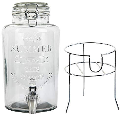 Getränkespender mit Zapfhahn Glas 3L, Prägung/Dekor, Glasdeckel, stabiler Metallständer, herausnehmbare Dichtung, geeignet für Saft, Eistee, Bowle, Wein etc.