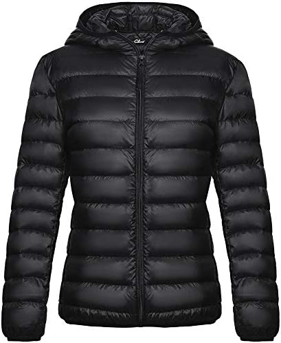 CLUCI Women s Down Jacket with Hood Packable Ultra Lightweight Outwear Short Puffer Coat Black product image