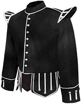 Wool Blend Military Piper Drummer Doublet Highland Jacket Black