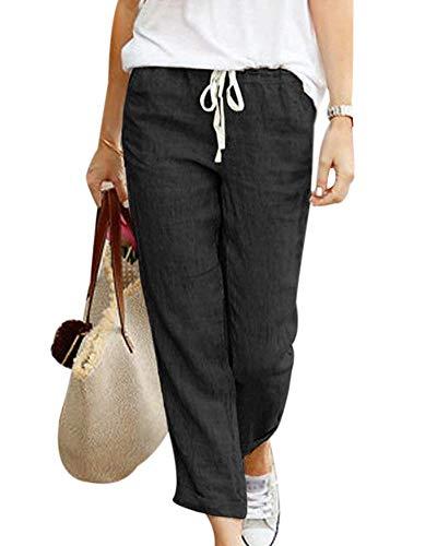 Minetom Donna Estate Casual Coulisse Elastico Cotone Lino Pantaloni Eleganti Morbidi Confortevoli Pants a Vita Alta con Tasche Laterali Nero XXXL