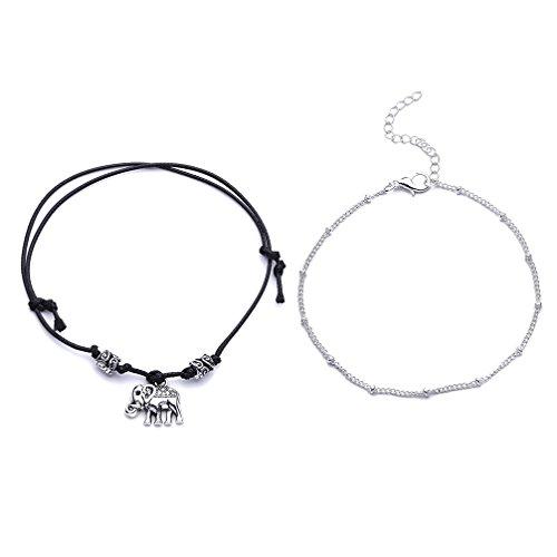 Toporchid Boho Fußkettchen - Doppelschicht Fußkettchen Perlen Fuß Armband, Fußkettchen Fuß Zubehör für Frauen Mädchen Lady Geschenke (Elefant)