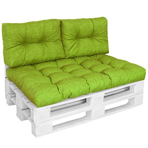 DILUMA | Set 3 pièces Vert Pomme | Assise 120x80 cm + 2X Dossiers Courts 60x40cm | Coussin Comfort pour Sofa Palette Europe résistant aux éclaboussures