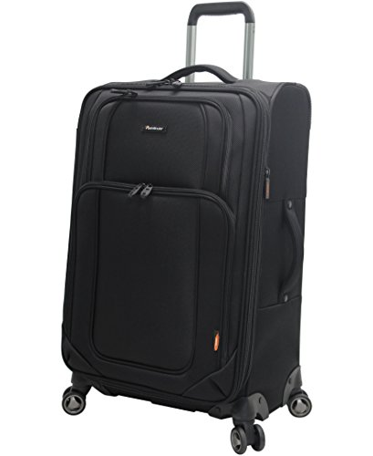Pathfinder Presidential Designer Luggage Collection - Expandable 25 Inch Softside Bag - Durable Midsize Lightweight Checked Suitcase with 8-Rolling Spinner Wheels (Black)