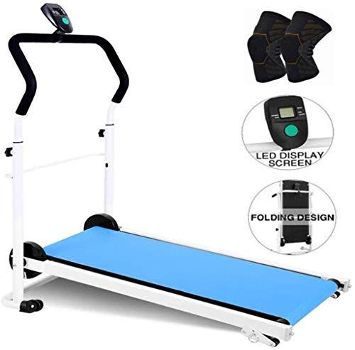 GGCL Cintas de Correr para Inicio de Plegado Manual de la máquina de Trabajo Cardio Fitness Ejercicio Incline Oficina máquina Que Ejecuta,Azul