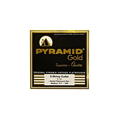 Pyramid Gold Chrome Nickel Flat Wound Electric Guitar Strings 11-48