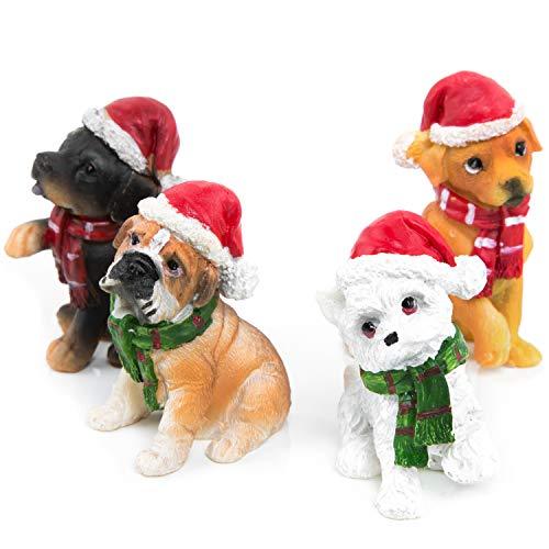 Logbuch-Verlag 4 witzige Hunde Figuren Weihnachten Weihnachtsdekoration Geschenk Hundeliebhaber 5-6 cm Santa Nikolaus Weihnachtsmann