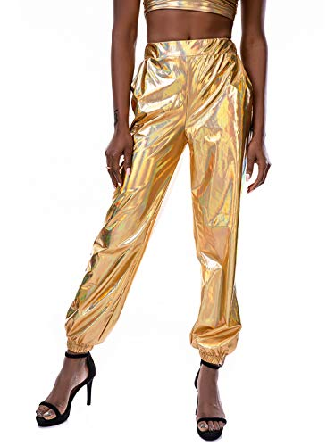 SIAEAMRG Womens Shiny Metallic High Waist Stretchy Jogger Pants, Wet Look Hip Hop Club Wear Holographic Trousers Sweatpant (Gold, L)