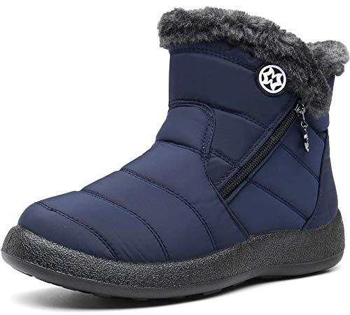 Gaatpot Damen Winterstiefel Wasserdicht Warm gefütterte Schneestiefel Winterschuhe Winter Kurzschaft Stiefel Boots Schuhe Blau (Navy) 37 EU