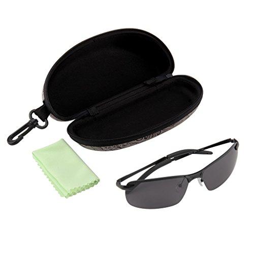 None Brand Hombres Adultos HD UV400 Polarizado Conducción al Aire Libre Pesca Gafas Gafas Gafas de Sol Negro Gris