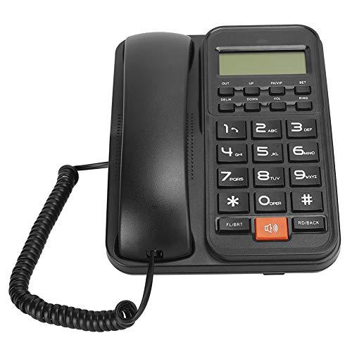 Dpofirs KX-T2024CID Teléfono Fijo Residencial con Cable, Teléfono Fijo de Color Negro de Escritorio y de Pared, Teléfono Fijo Compatible con DTMF/FSK para el Hogar, Hotel, Oficina(Negro)