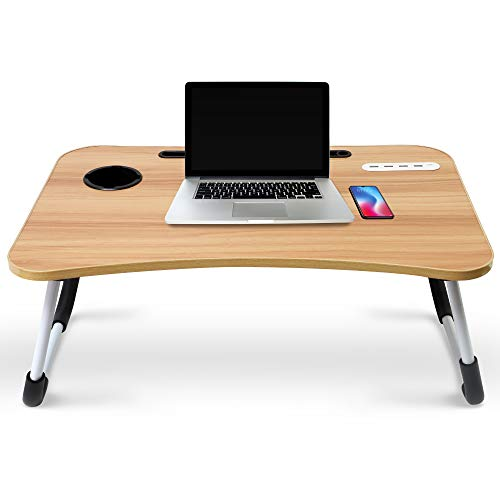 Hometech Solutions Foldable Lap Desk for Laptop and Writing - Includes Tablet Stand and Cup Holder (Wooden)
