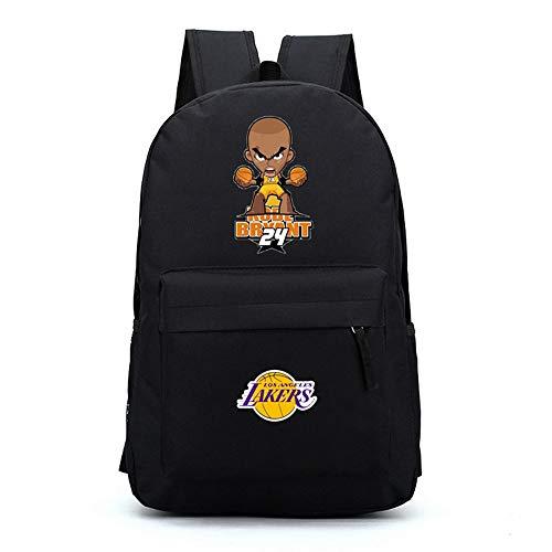 TFTREE Cartoon Q Kobe Basketball Lakers Kobe Nr. 24 Männer und Frauen Mittelschüler Umhängetasche Sportrucksack Canvas Bag Schwarz-Black