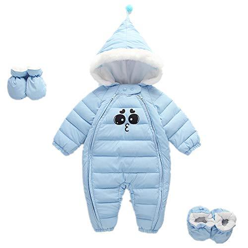Morbuy Mit Kapuze Overall kostüme Baby, Winter Junge mädchen babyoverall Emoticon süßes kostüm (80cm (0-3 Monate), Blau)