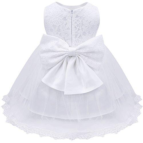 TiaoBug Baby Mädchen Kleid Prinzessin Hochzeit Taufkleid Blumenmädchen Festlich Kleid Kleinkind Festzug Kleidung Weiss Modell 4 86-92