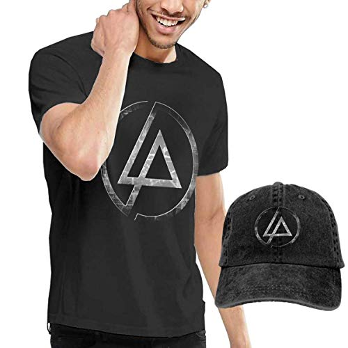 Kalinanai T-Shirts, T-Stücke, Linkin-Park Men's Classic T-Shirt mit Washed Denim Baseball Hat Schwarz