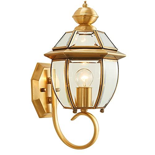 Lámpara de pared Lámpara de pared a prueba de agua al aire libre Corredor de patio retro Corredor de cobre completo lámpara de noche Balcón escalera pared lámpara colgante Aplique de pared al aire lib