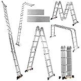 Goplus Scala Pieghevole, 7 in 1 Scala Telescopica in Alluminio Multifunzionale Allungabile, Scala Multiuso con Piattaforma a Ponteggio Antiscivolo per Lavoro