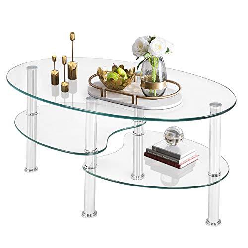 GOPLUS Couchtisch Glas, Glastisch Oval, Beistelltisch Sicherheitsglas, Kaffeetisch 3-Etagen-Design, Wohnzimmertisch Metallrahmen, 89 x 51 x 45,5 cm, Farbwahl (Transparent)