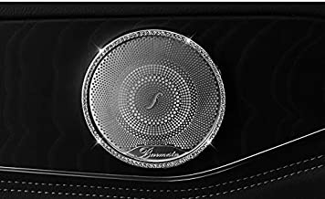Boobo Ice Out 4 Rings Speaker Outer Cover Frame Badge Bling Insert Emblem with Genuine Austrian Crystal Insert for Mercedes Benz C250 C300 C350 C-Class GLC300 GLC350 GLC63 (Silver)