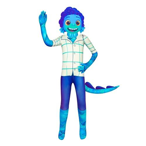 BERHANGO Luca Costume da Mostro Marino per Bambini Tuta Costumi Halloween Cosplay per Ragazzi con Maschera e Coda 3-8 anni