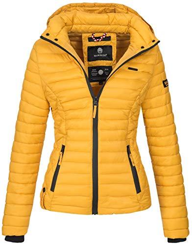 Marikoo Damen Jacke Steppjacke Übergangsjacke mit Kapuze gesteppt B600 [B600-Samt-Gelb-Gr.S]