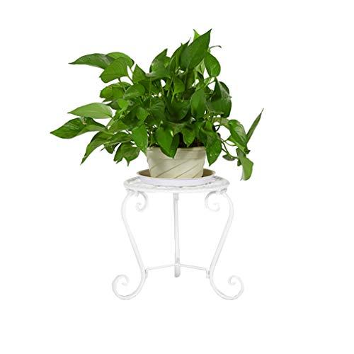 FZN Eisen-Blumengestell, kreativer Rahmen-Boden-Balkon-Blumen-Bett-Rahmen-Innenwohnzimmer Topf-Untersetzer (Farbe : Weiß)