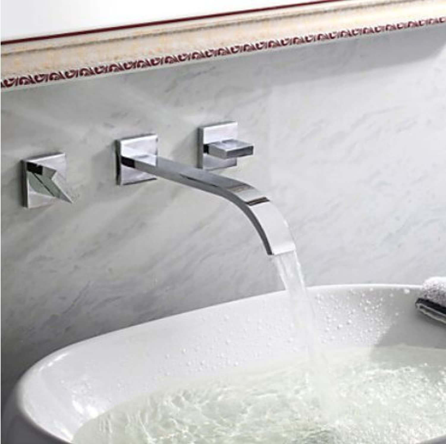 Mangeoo Faucet All Copper Faucet Hot And Cold Basin Faucet Into Wall Three Holes Double Handle