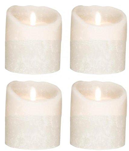 Juego de 4SOMPEX 10cm blanco Frost, corona de Adviento velas LED de cera de velas