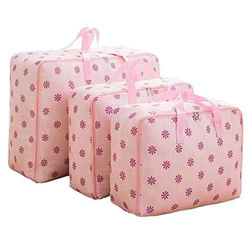 3pcs / set Bolsa de almacenamiento de Oxford tejido en movimiento del equipaje del bolso impermeable del organizador del armario de almacenamiento Cajas M + L + XL almacenaje de la ropa de contenedore