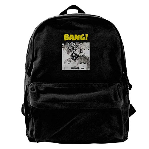 Canvas Laptop Mochila, School Mochila for Men Women, Revolver Bang BEA-tles Lightweight Anti-Theft Outdoor Travel Daypack College Student Rucksack Fits Up to 15.6 Inch Computer