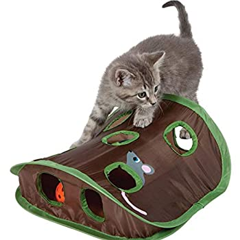 Ogquaton Chat Souris Jouet Hide u0026 Seek Jeu Casse-tête pliable Exercice Jouet 9 Trous Chasse à la souris avec Bell-ball Nouveau publié