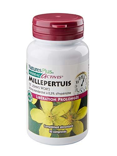 NaturesPlus - Millpertuis 233mg 60 comprimés - Libération Prolongée - extrait de plante standardisée à 0,3% d'hypéricine - Luttez contre les états anxieux et troubles du sommeil - Conçu et fabriqué par NaturesPlus