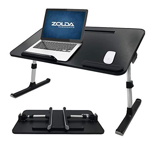 Zolda Laptop Bett Schreibtisch - Tragbare Premium Laptop-Ablage. Multifunktionsklapptisch für bessere Ergonomie. Laptopständer für Bett, Sofa, Boden oder als tragbarer Stehpult (Schwarz & Aluminium)