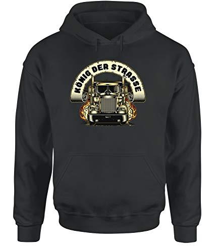 tshirtladen König der Strasse Hoodie Unisex Truckerhoodie, Farbe: Dunkelgrau, Größe: Medium