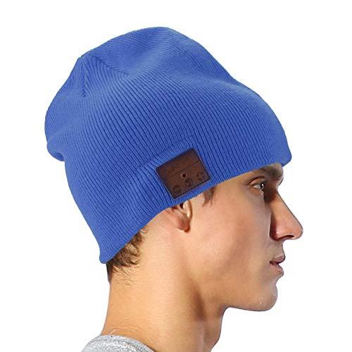 Sanpyl Sombrero de Punto para música - Bluetooth inalámbrico portátil Sombrero de música Gorro para Auriculares estéreo Compatible con la cámara Bluetooth Función uno a...