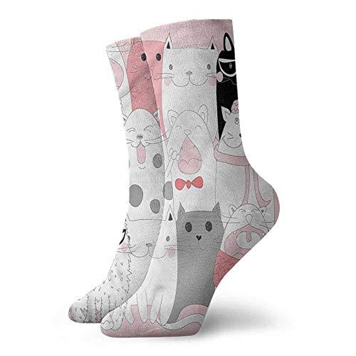 Cat Mountaineering socks Not easy to slip Funny Kittens Humor Doodle