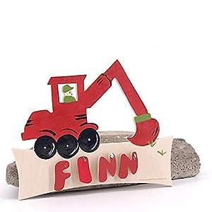 Bagger rot – Türschild mit Name Gravur oder Buchstaben – Kinder Holz Tür Geburtsgeschenk, Geburtstagsgeschenk…