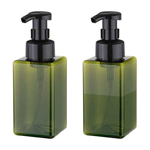 UUJOLY Foaming Soap Dispenser, 450ml (15oz) Refillable Pump Bottle Plastic for Liquid Soap, Shampoo, Body Wash (2 Pcs) (Green)
