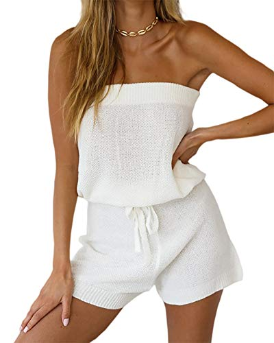 Chang Yun Womens Summer Jumpsuits Casual Loose Sleeveless Off Shoulder Elastic Waist Romper Loungewear Two Piece Outfits White