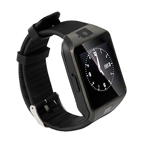 Hanguang Smartwatch für Herren und Damen, Telefonuhr für Android Smartwatch, vibrierend, SMS-Appel, Smartwatch, Touchscreen, Gesundheit, Sportuhr, Schrittzähler, Schlaf-Tracking, Schwarz
