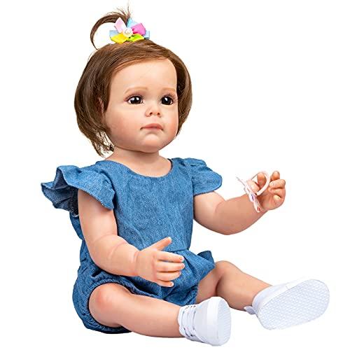 YIHANGG 55CM Muñeca Bebe Reborn Niña Pequeña con Cabello Castaño 22 Pulgadas Silicona Completa Impermeable Mimoso Regalo para Niños Pequeños para Cumpleaños De Navidad