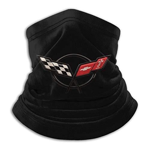 WlQshop Tour de Cou Warmer Windproof Mask Fleece Headwear Corvette Logo for Winter Men Women Walking Skiing Motorcycling