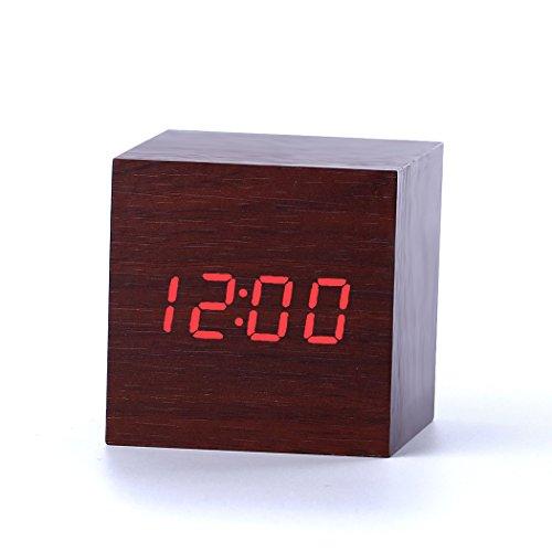 Yihya USB/AAA Classic Legno Alarm Snooze Clock Moda Digital Desk Clock con Termometro Tempo Display a LED Vioce Attivato, Sensore del Suono Perfetto per Casa e l'ufficio --- marrone - rosso luce