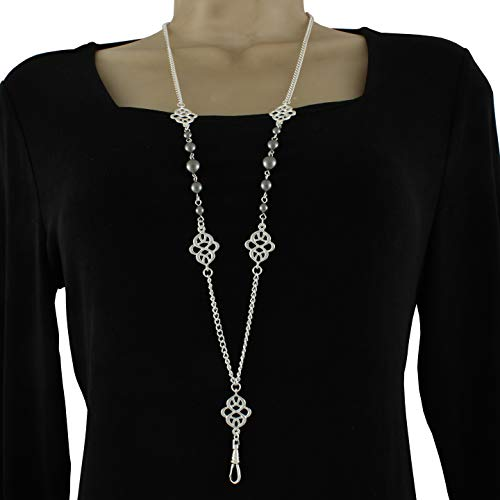 Brenda Elaine Jewelry Silver Plated Women's Fashion Lanyard Necklace ID Badge Holder, 32 Inch Silver Chain with Silver Celtic Accents and Gray Pearls & Rear Magnetic Break Away Clasp