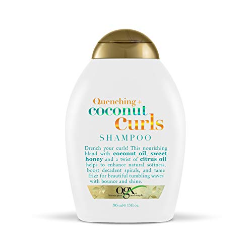 OGX Quenching + Coconut Curls Curl-Defining Shampoo, Hydrating & Nourishing Curly Hair Shampoo with Coconut Oil, Citrus Oil & Honey, Paraben-Free, Sulfate-Free Surfactants, 13 floz