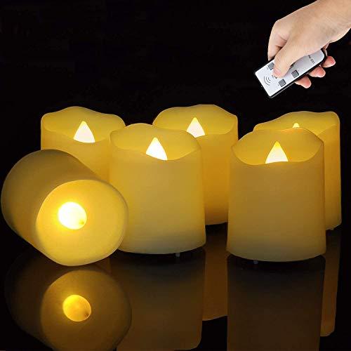 Flammenlose LED Teelichter, Led Teelichter mit Timer 6 Stück Elektrische Teelichter mit Fernbedienung Flackernd Kerzen inklusive CR2450 Batterien. für Weihnachte,Party,Hochzeit,Lang Anhaltend Kerzen