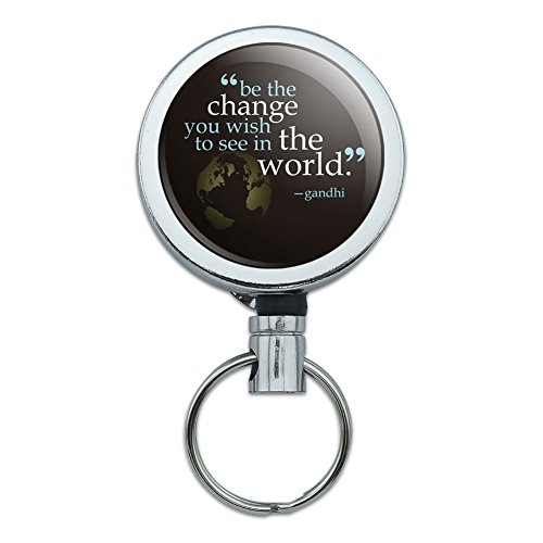 All Metal Retractable Reel ID Badge Key Card Holder with Belt Clip Inspirational - Be Change You Wish To See Quote Gandhi