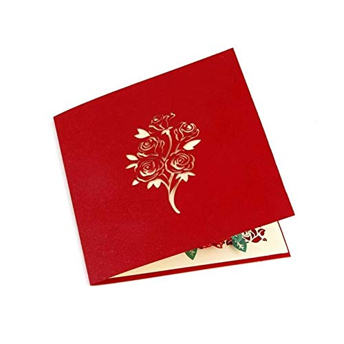 FinWell 2PCS Rose Bouquet 3D Pop-Up Card for for Girlfriend Lover Wife Husband Valentine's Card Birthday Cards