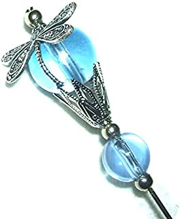 DRAGONFLY Stick Hat Pin Long Hatpin Vintage Style BLUE GLASS Silver Plt