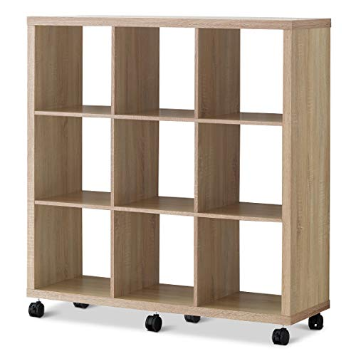 """Giantex 9 Cube Organizer, Rolling Bookcase, 9 Compartments Storage Cabinets for Books, Plants, Toys or Clothes, Large Free Standing Bookshelf, 3 Tier Modular Shelves with Casters, 47""""Lx 15""""Wx 50""""H"""